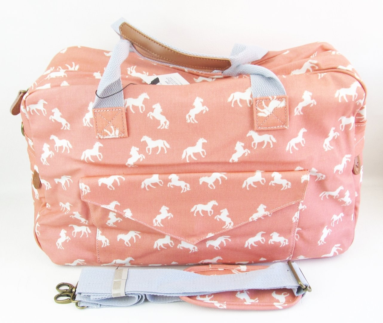 Salmon Pink Horse PVC Coated Travel or Gym Bag