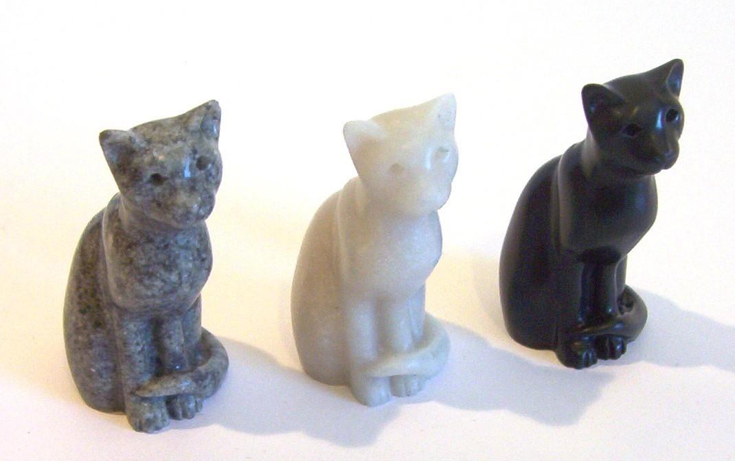 MINI JASPER Quintessence Miniature Stone Cat Figurine GREY
