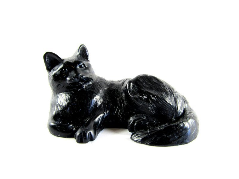Quintessence Fury  Pen Holder or Figurine Stone Resin Cat Black