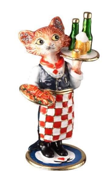"""CATerer"" Collectable by TrinCATZ  Cat Jewelled Box-Figurine"