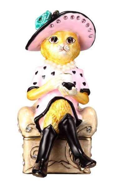 """SophistiCAT"" Collectable by TrinCATZ Cat Jewelled Box-Figure"
