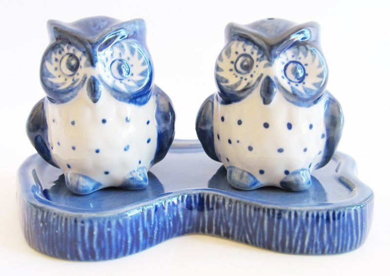 Blue /& White 3 piece Ceramic Salt /& Pepper Shakers Owl