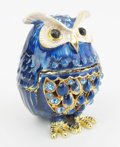 Blue Owl Jewelled Trinket Box or Figurine