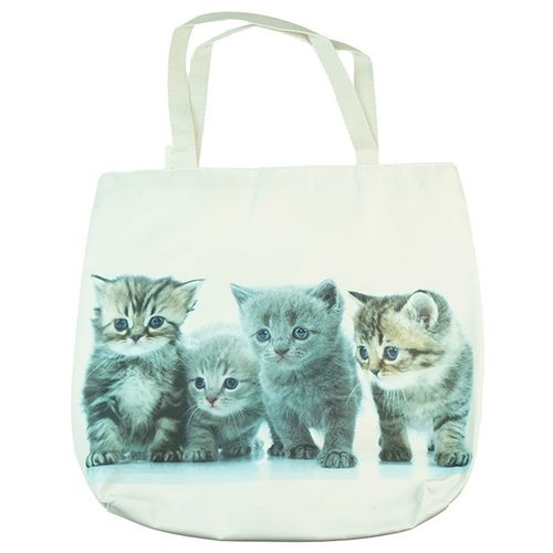 Cat Tote Bag - White with 4 beautiful kittens on both sides