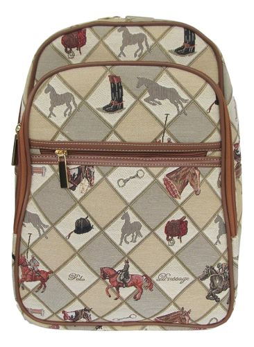 Tapestry Horse Equestrian Sport Large Backpack
