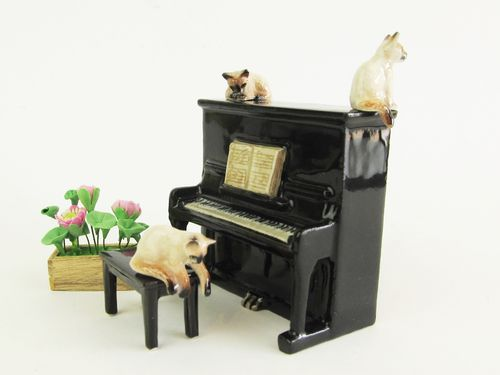 Miniature Porcelain, Hand Painted Siamese Cats on Piano