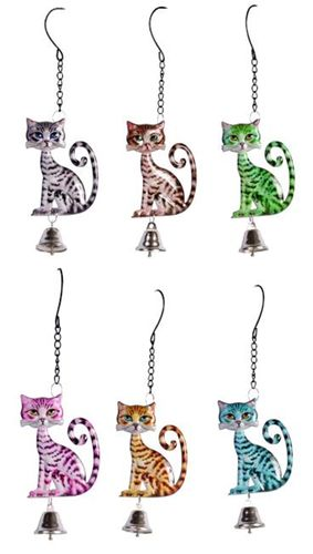 Cat Garden Bell - Hanger - Enamelled Metal Choice of 6