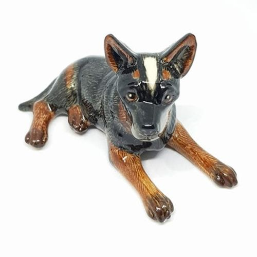 Australian Cattle Dog Lying Miniature Ceramic Figurine - Dark