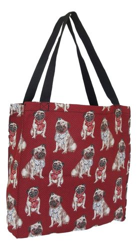 Tapestry Pug Dog on Red Colour Gusset Tote Bag