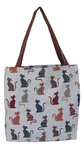 Tapestry Cheeky Cats Colourful Gusset Tote Bag