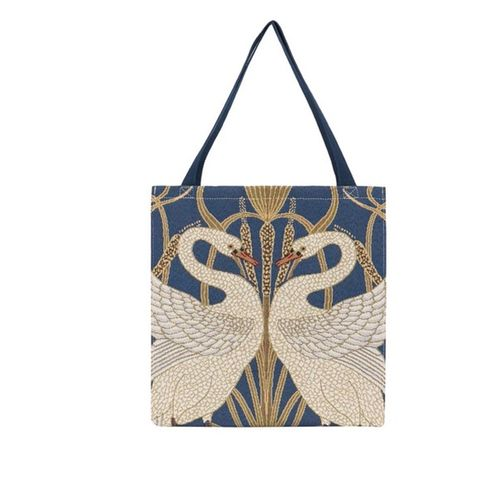 Walter Crane Swan Design Gusset Bag Gold Tapestry tote bag