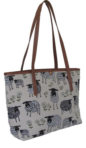 "Tapestry Sheep ""Spring Lamb"" Shoulder tote handbag"