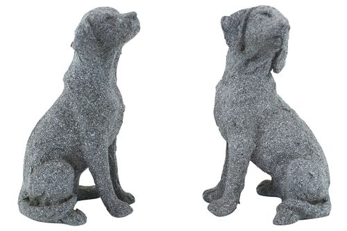 Hungarian Vizsla Dog Figurines Grey Stone Look Approx 14cm H