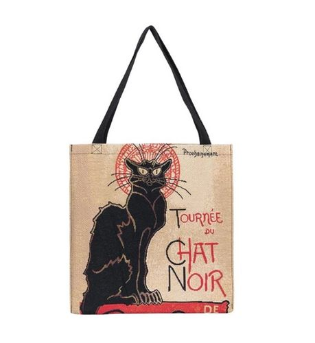 Tapestry Chat Noir The Black Cat Gusset Tote Bag